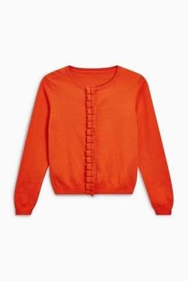 Next Girls Orange Ruffle Placket Cardigan (3-16yrs)