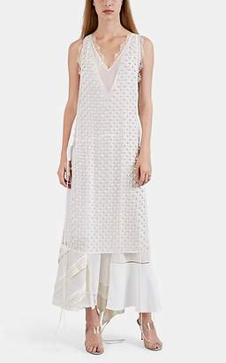Loewe Women's Layered Mixed-Media Sheath Dress - White