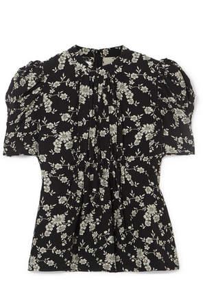Co Floral-print Gabardine Top - Black