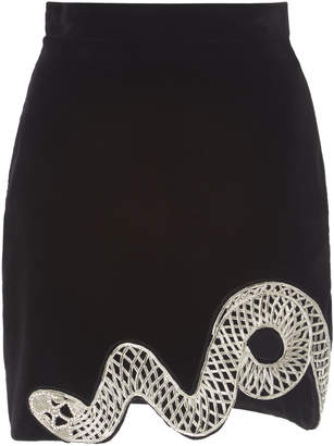 David Koma Embroidered Cotton-Blend Mini Skirt