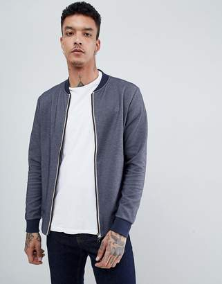 Aquascutum London Humber Sweat Bomber Club Check Jacket In Navy