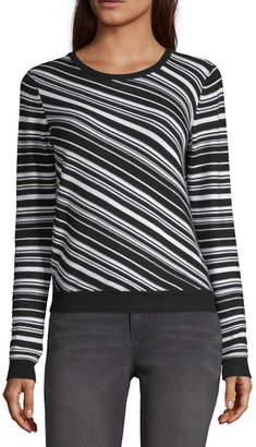 A.N.A WORTHINGTON Worthington Womens Round Neck Long Sleeve Stripe Pullover Sweater