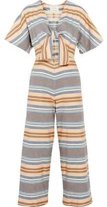 Solid & Striped Tie-Front Cutout Striped Basketweave Cotton Jumpsuit
