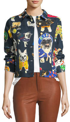 Libertine Dog-Print Cropped Jean Jacket