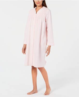 Miss Elaine Smocked Brushed-Back Terry Short Snap Robe