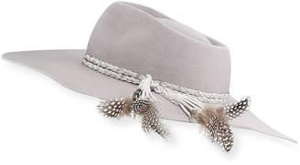 Neiman Marcus Gladys Tamez Pallenberg Felt Hat w/ Braided Band & Feather Tassel Trim