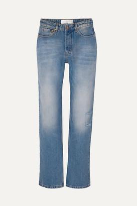 Victoria Victoria Beckham Victoria, Victoria Beckham - Arizona Distressed Straight-leg Jeans - Mid denim