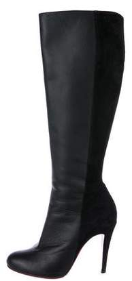 Christian Louboutin Leather & Suede Knee-High Boots