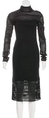 Thierry Mugler Long Sleeve Knit Midi Dress