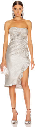 Jonathan Simkhai Plisse Lame Ruffle Dress in Cool Silver | FWRD