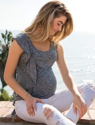 Jessica Simpson Motherhood Maternity Ruffle Front Maternity Top