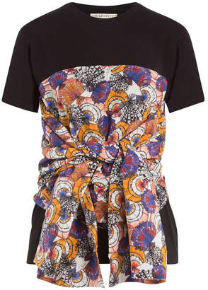 Emilio Pucci Cotton T-Shirt with Printed and Draped Detail
