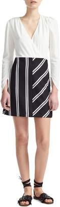 Maje Rolim Stripe Skirt Crepe Fit & Flare Dress