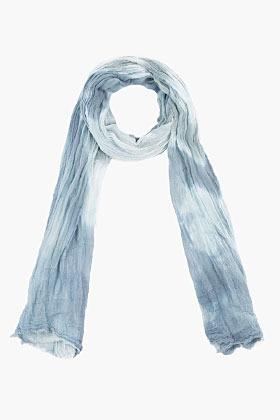 John Varvatos Grey & White Tie-Dyed Twisted Cotton Scarf