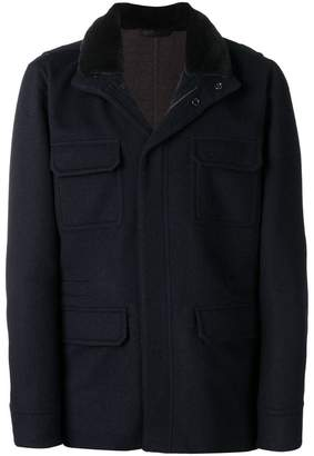 Manzoni 24 fur collar single-breasted coat