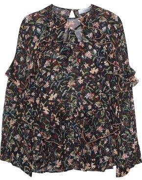 IRO Bow Ruffled Floral-Print Crepe De Chine Blouse
