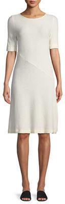 Three Dots 1/2-Sleeve Ribbed Midi Dress