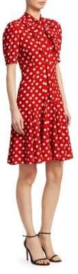 Michael Kors Silk Tie-Neck Polka Dot Dress