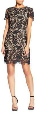 Dress the Population Short-Sleeve Crochet Lace Mini Dress