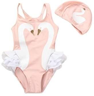 TAIYCYXGAN Baby Toddler Girls One-Piece Swan Swimsuits Ruffle Bathing Suit Beachwear LightPink S