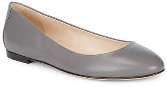 Sergio Rossi Round Toe Leather Ballet Flat