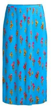 Escada Sport Pleated Floral Midi Skirt