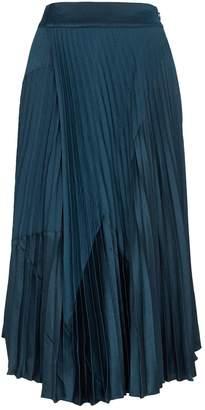 Vince Chevron-Pleated Midi Skirt