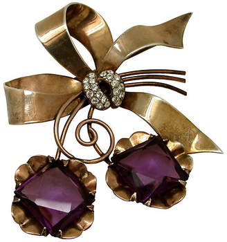 One Kings Lane Vintage Sterling Amethyst Bow Brooch - Thanks for the Memories
