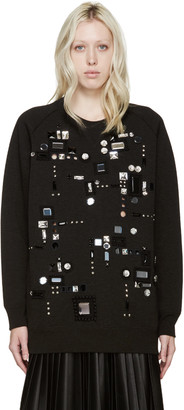 Marc Jacobs Black Embellished Oversized Sweatshirt $2,800 thestylecure.com