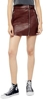 Topshop Hardware Faux Leather Miniskirt