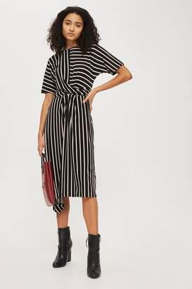 Topshop Striped drape midi dress