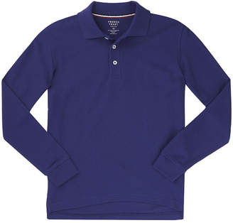 French Toast Boys Point Collar Long Sleeve Polo Shirt - Big Kid