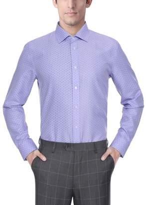 Verno Fashion Big Mens 100% Micro Fiber Print Slim Fit Long Sleeve Lavender Dress Shirt