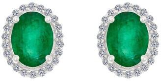 Premier 8x6mm Oval Emerald & Diamond Stud Earrings, 14K