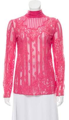 Valentino Long Sleeve Lace Blouse Pink Long Sleeve Lace Blouse