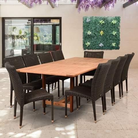 Amazonia 11pc Teresina Eucalyptus Patio Dining Set