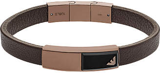 Emporio Armani Men's Leather Onyx Logo Bracelet, Brown
