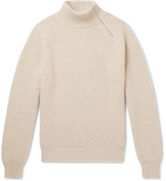 Connolly Zip-Detailed Ribbed Cashmere Mock-Neck Sweater