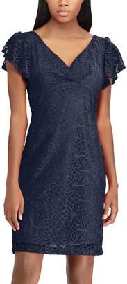 Chaps Petite Lace Flutter Sleeve Empire Dress