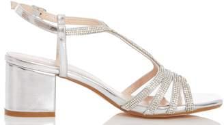 Dorothy Perkins Womens *Quiz Silver Diamante Strap Block Heel Sandals