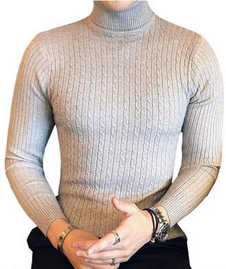 FLCH+YIGE Mens Winter Ribbed Slim Fit Knitted Pullover Turtleneck Sweater M