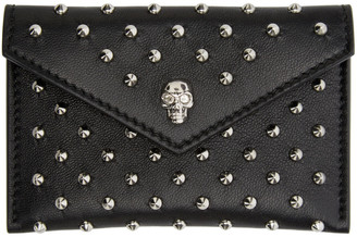 Alexander McQueen Black Studded Skull Card Holder $245 thestylecure.com