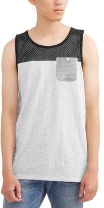Generic G-Net Big Men's Cut and Sew Tank with Mesh and pocket Detail