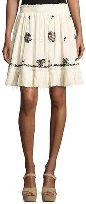 Derek Lam 10 Crosby Embroidered Silk Mini Skirt, Cream $595 thestylecure.com