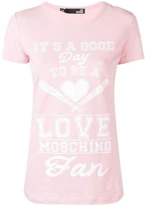 9cf43f75 Love Moschino quote print T-shirt
