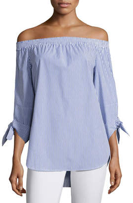 Finley Jill Madison Striped Off-the-Shoulder Tie-Sleeve Blouse