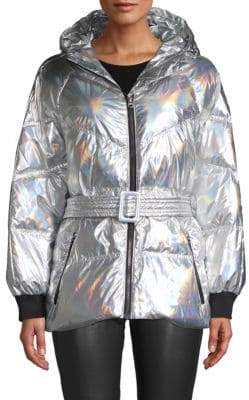 7 For All Mankind Metallic Hooded & Belted Down Puffer