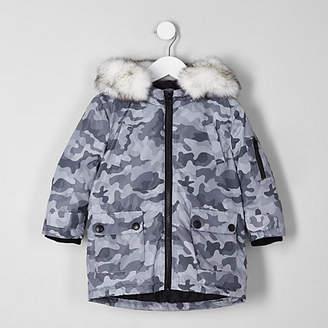River Island Mini boys grey camo print faux fur trim parka