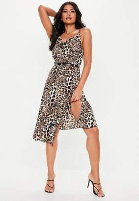 Missguided Petite Brown Leopard Print Cami Frill Midi Dress