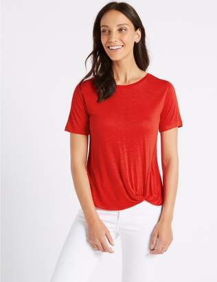 Marks and Spencer Knot Front Round Neck Short Sleeve T-Shirt